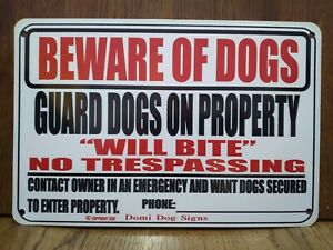 """Metal Warning Guard Dogs Sign For FENCE ,Beware Of Dog 8""""x12"""" USA Made will bite"""