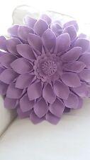 ROUND Lilla Feltro 3D Fiore Cuscino Cuscino 16 pollici