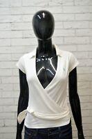 RALPH LAUREN Donna Taglia S Maglia Bianca Blusa Manica Corta Shirt Women Jersey