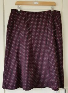 Per Una Skirt Size 14 Pink Red Midi Square Print A-Line Lined Women's Fashion