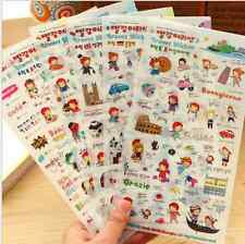6 sheet PVC girl European tour diary calendar schedule clip decorative stickers