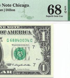 1963 $1 CHICAGO FRN, PMG SUPERB GEM UNCIRCULATED 68 EPQ BANKNOTE, RARE G/C BLOCK