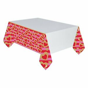 Heart of Gold Pink Valentine's Day Holiday Party Decoration Plastic Tablecover