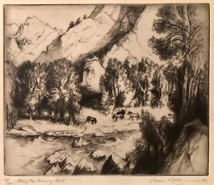 'Along the Roaring Fork', 1973 etching and drypoint by Gene Kloss, edition of 75