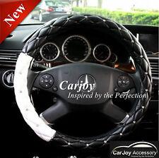 Black White Universal Steering Wheel Cover Leather Crystal Diamond Xmas Gift