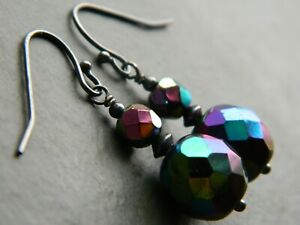 Vintage Faceted Multi-Coloured CARNIVAL GLASS, Oxidised Sterling Silver Earrings