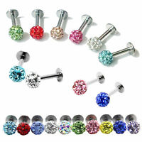 Surgical Steel CZ Crystal Ball Lip Monroe Labret Tragus Bar Ring Piercing Stud