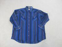 Ely Cattleman Pearl Snap Shirt Adult 2XL XXL Blue Red Western Rodeo Cowboy Men *