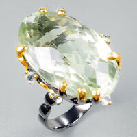 27x16mm 37ct+ Natural Green Amethyst 925 Sterling Silver Ring Size 8/R122415