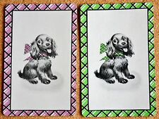 DOG - HAPPY PUPS WITH BOWS -  VINTAGE DECO PAIR SWAP PLAYING CARDS