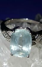 ❤ JAYNES GEMS NATURAL 4CT , AAA AQUAMARINE RING SIZE UK N. US .6.5. EU 54.