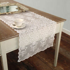 Runner Pizzo Poliestere Shabby chic Poly-Vent Collection Colore Bianco