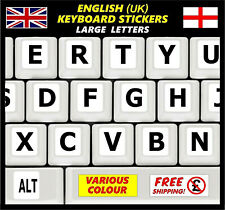 English Keyboard Stickers LARGE BIG Letters Poor Eyesight Children Computer Wh +