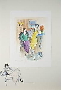 """""""En Repos"""" By Itzchak Tarkay Signed Original Watercolor and Pencil"""