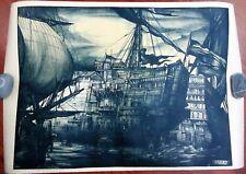 GIULIO CISARI Navi antiche PROVA D'ARTISTA XVII Biennale Venezia 1930