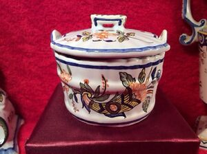 Antique French Rouen Faience Covered Salt or Butter Tub