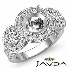 Three Stone Diamond Engagement 1.3Ct Platinum 950 Round Semi Mount Pre-Set Ring