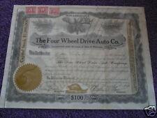 Vintage Stock Certificate Car 1917 4 Wheel Dr. Auto Co.