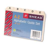 "Smead 5-Tab Card-Sized Guides, Plain Tab (A-Z), 6""W x 4""H, Manila, 25/set(56076)"