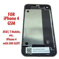 NEW Black iPhone 4 / 4G Back Glass Rear Door Battery Cover GSM Model A1332