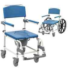 Aston Mobile wheeled shower commode chair footrests + brakes transit self propel