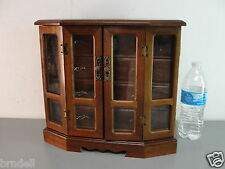 WOOD WOODEN JEWELRY CHEST CABINET DISPLAY BOX ARMOIRE 8 DRAWER 13X12 VINTAGE VTG