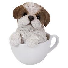Teacup Pups Figurine Statue Shih Tzu Dog Puppy in Cup Mug Sculpture Brown White