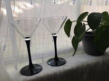 90s Black Stem Martini Glasses Pair Of 2