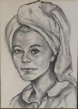 Original Charcoal Portrait Sketch of 1960's Actress TUESDAY WELD Framed Drawing