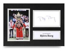 Bjorn Borg Signed A4 Photo Display Tennis Wimbledon Autograph Memorabilia COA