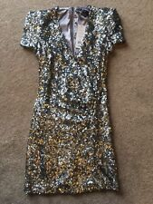 French Connection Samantha Silver Sequinned Dress UK Size 12