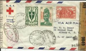 Cameroun A.E.F. RED CROSS LABEL-Sc#295(scarce)#259,#244 EBOLOWA