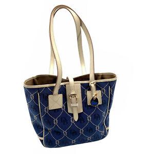 Dooney & Bourke Navy Blue Ivory Nautical Rope Canvas Leather Tote Handbag Purse