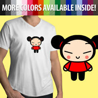 Pucca Love Garu Cute Korean Cartoon Show Kawaii Funny Mens Tee V-Neck T-Shirt