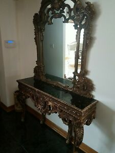 French Antique Rococo Style Mirror and Console/Gold/Excellent condition
