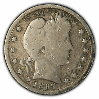 1897-S 25c Silver Barber Quarter - Full Rim - Key Date Coin - SKU-X924