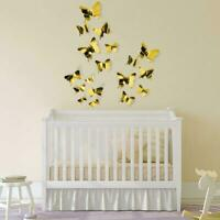 12PCs 3D Mirrors Butterfly Wall Stickers DIY Removable Decals Home Decor R9A7