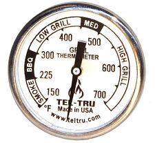 """Tel-Tru BQ100 BBQ Grill Pit Dome Thermometer 1.75"""" Dial w/ 2"""" Stem"""