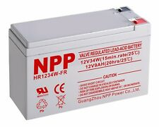 NPP HR1234W 12V 34W (15min-rates)  12V 9Ah High Rate Rechargeable SLA Battery F2