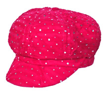 Chemo Hat Glitter Sequin Hot Pink Newsboy Fitted for Women with Cancer Chemo Ha