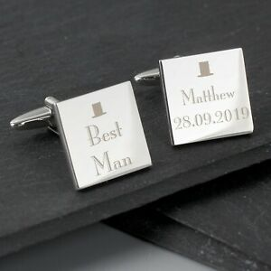 Personalised Decorative Wedding Square Cufflinks Best Man Groom Father of Bride