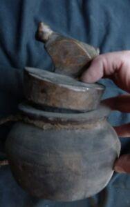 "orig $299-NEPAL/TIBET SHAMAN WOOD BIRD BOWL EARLY 1900S 7+"""