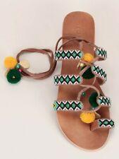 Gladiator Sandals lace up beaded pompom leather cognac Jonak Jalo UK 38 US 8
