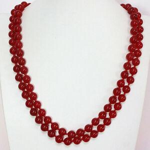"""Fashion red 8MM jade gemstone round beads chain elegant women necklace 36"""""""