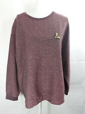 H&M Women's Size Large Pink Metallic Pullover Sweater With Bumblebee Patch