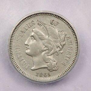 1865-P 1865 Nickel Three Cent Piece ICG AU58