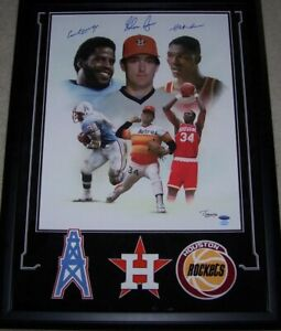 34s Nolan Ryan, Earl Campbell, Hakeem Olajuwon Signed Custom Framed 18x22 Canvas