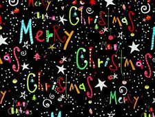FAT QUARTER MERRY CHRISTMAS HOLIDAY FESTIVE COTTON FABRIC QUILTING TREASURES  FQ