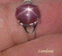 3.65 ct. Red Star Ruby Silver Ring Adjustable