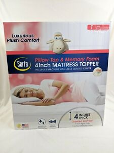 New Serta Pillow Top Memory Foam Mattress Topper 4 inch Twin 39in X 75in X 4in